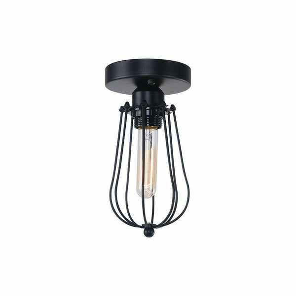 Vintage Hallway Ceiling Light, Black Semi-Flush Mount Basket Cage Bedroom Living Room - Vintagelite
