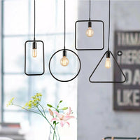 Metal Pendant Light Shade Ceiling Industrial Geometric Wire Frame Lampshade Lamp
