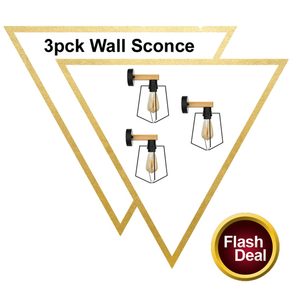3 Pack E27 Modern Industrial Retro Wall Sconce Lights Fittings Indoor Sconce Wood Metal Lamp - Vintagelite