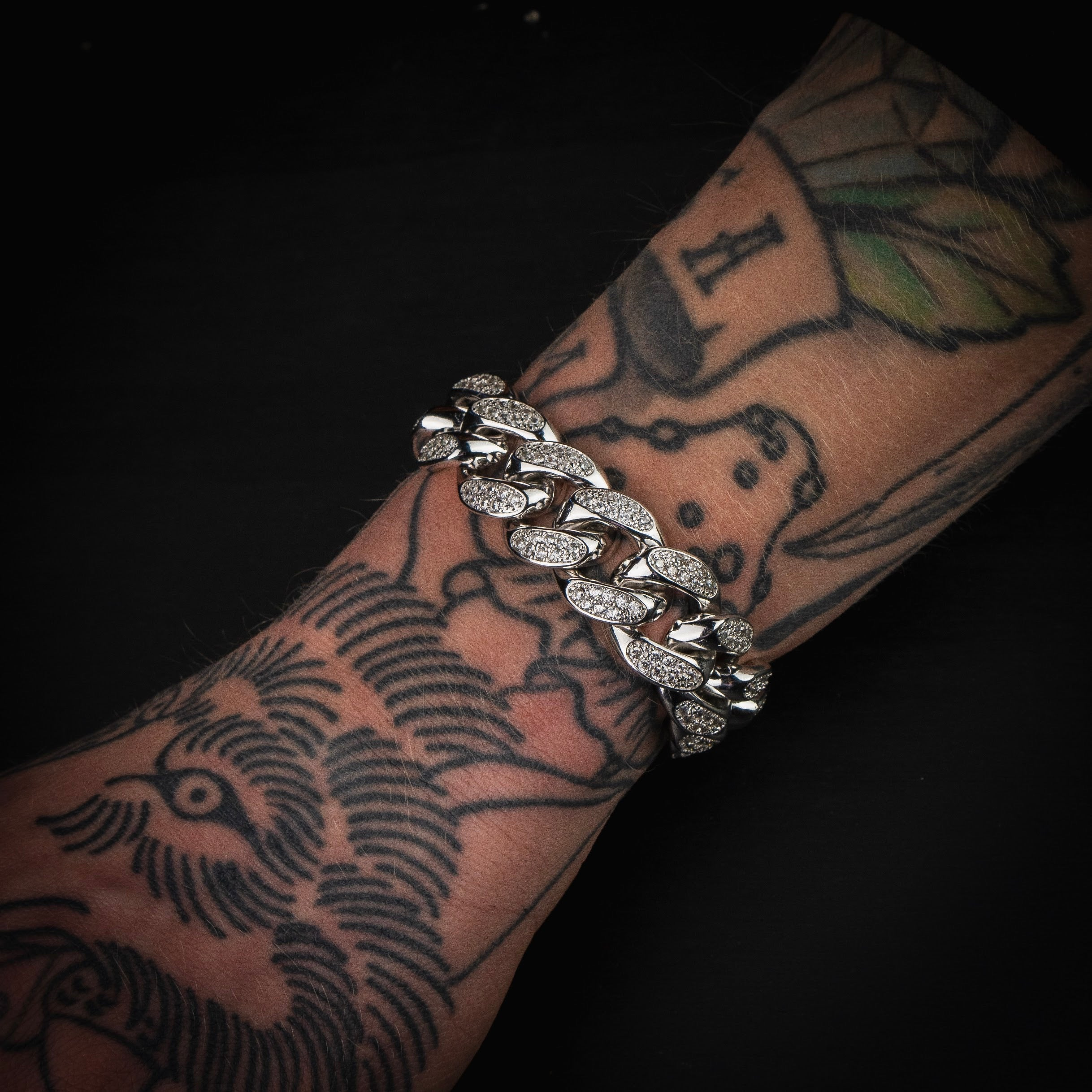 19mm Iced Out Cuban Link Armband Weißgold