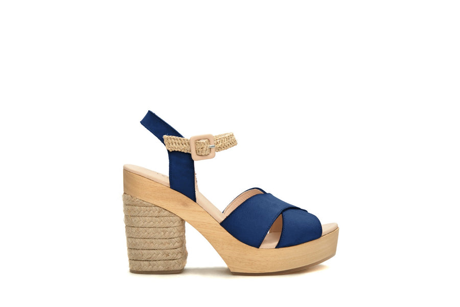 The Perfect Leather & Raffia Wedge Navy