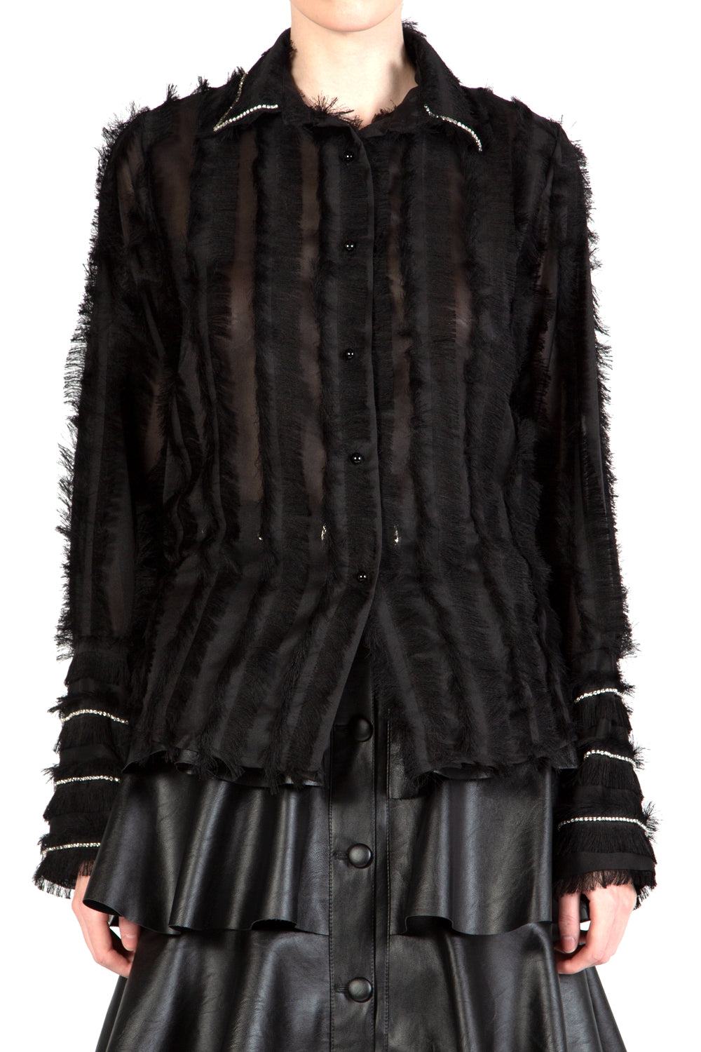 Black Fringe Blouse  Crystals beads Collar and Cuff