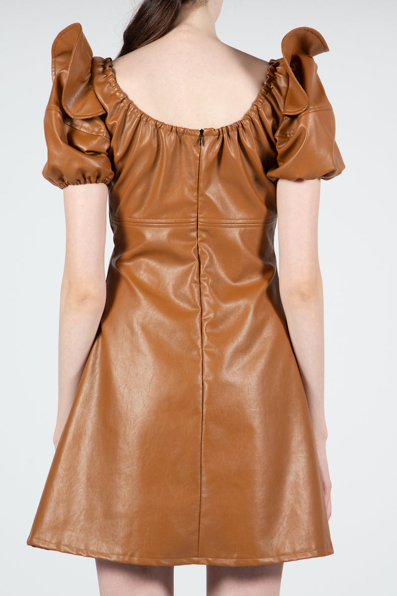 Camel Vegan Leather Mini Dress