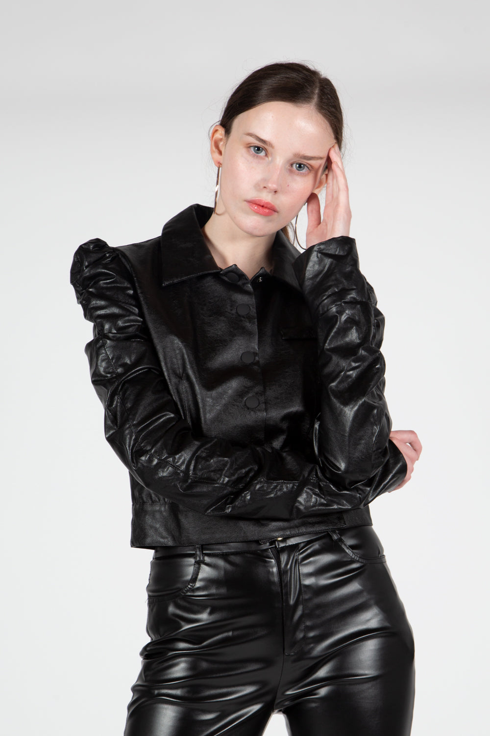 Vegan leather Ruffled Jacket