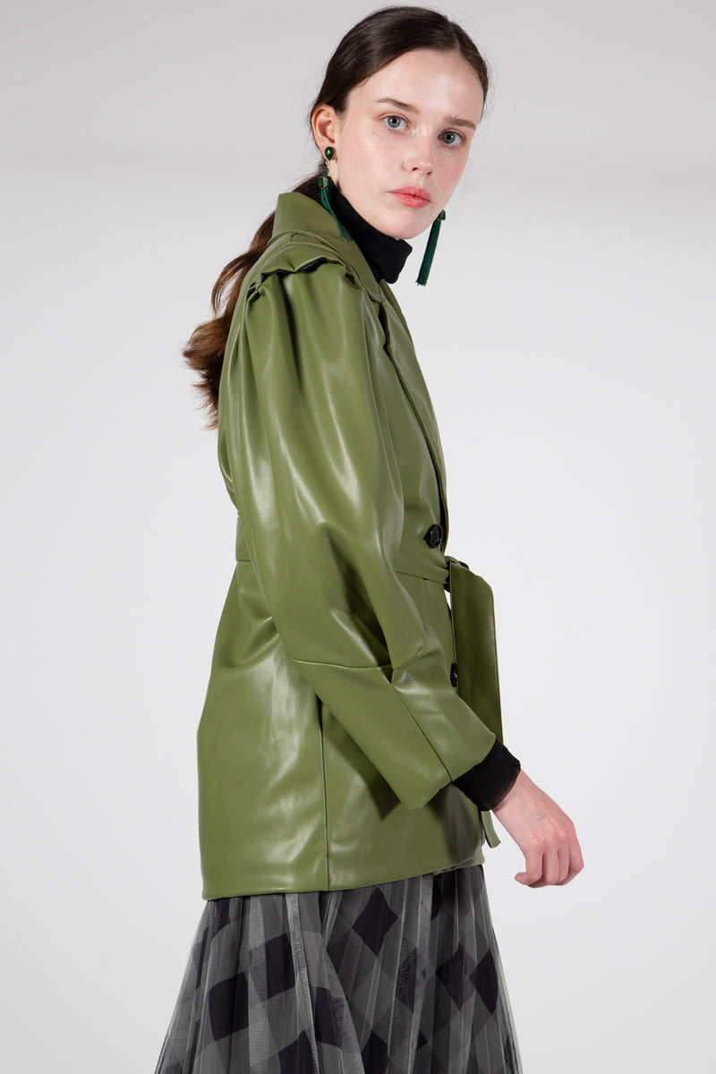 Sage Green Leather Jacket