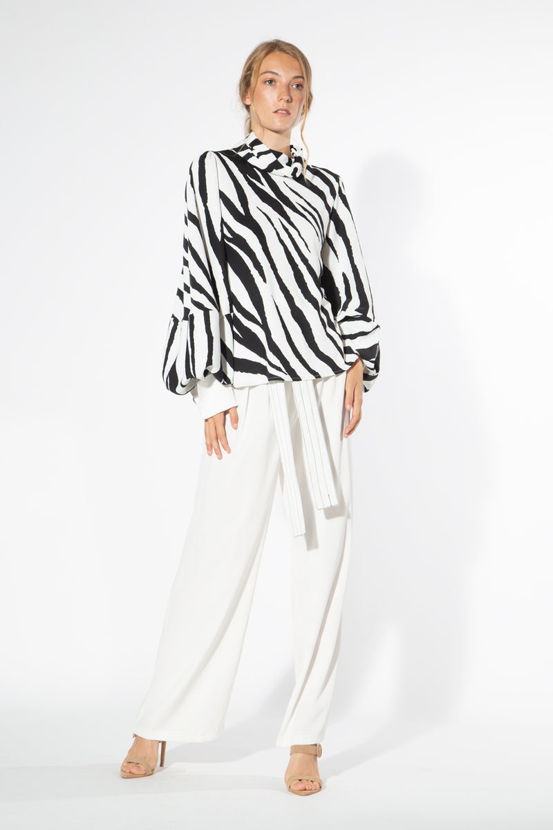 Zebra Blouse With Ballon Sleeves