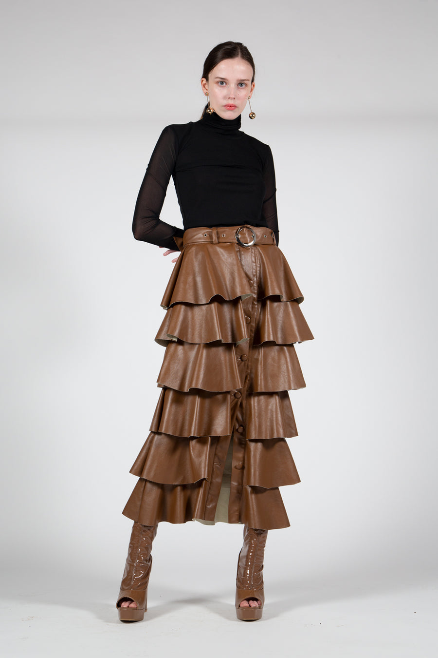 Ruffled Maxi Leather Skirt