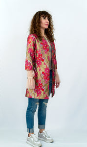 Multi Colored Floral Applique Jacket