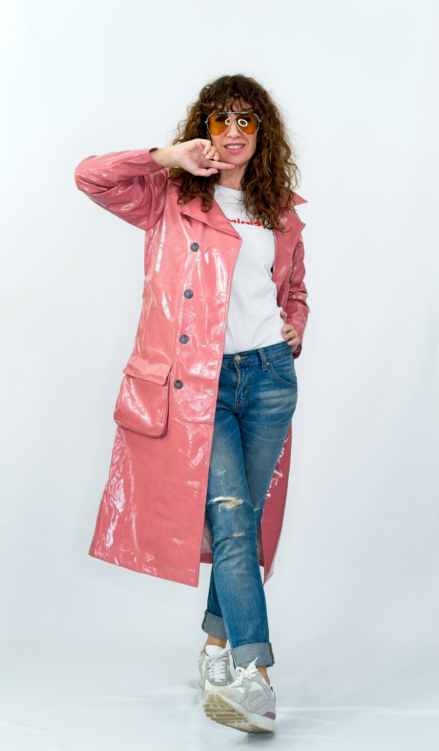 Blush Vinyl Trench Coat