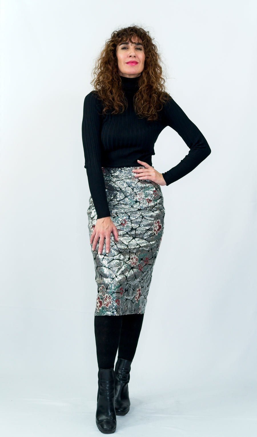 Silver Sequins Pencil Skirt