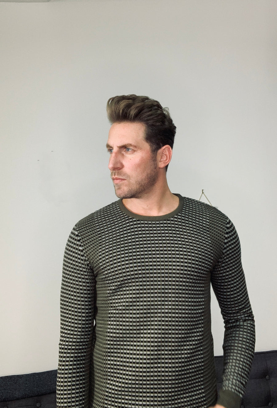 Green Black and White octagon Sweater