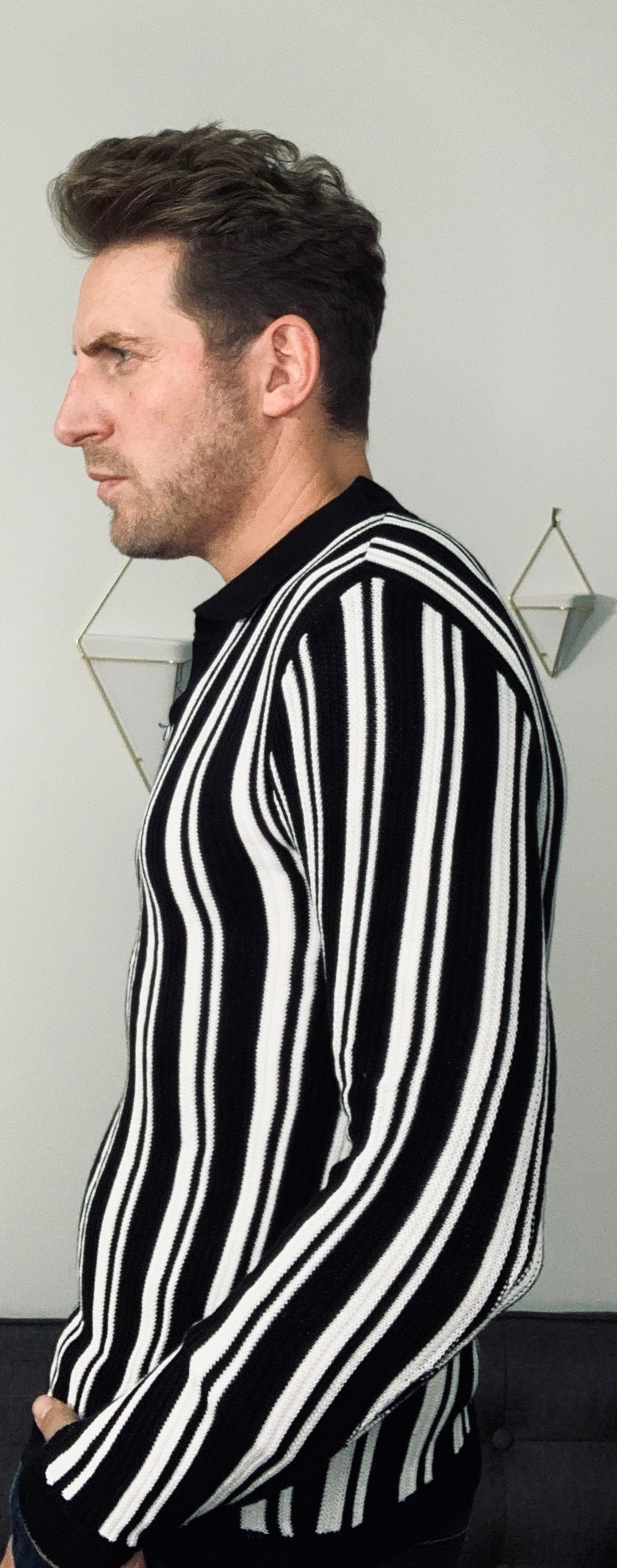 Black and White Stripe Light Sweater