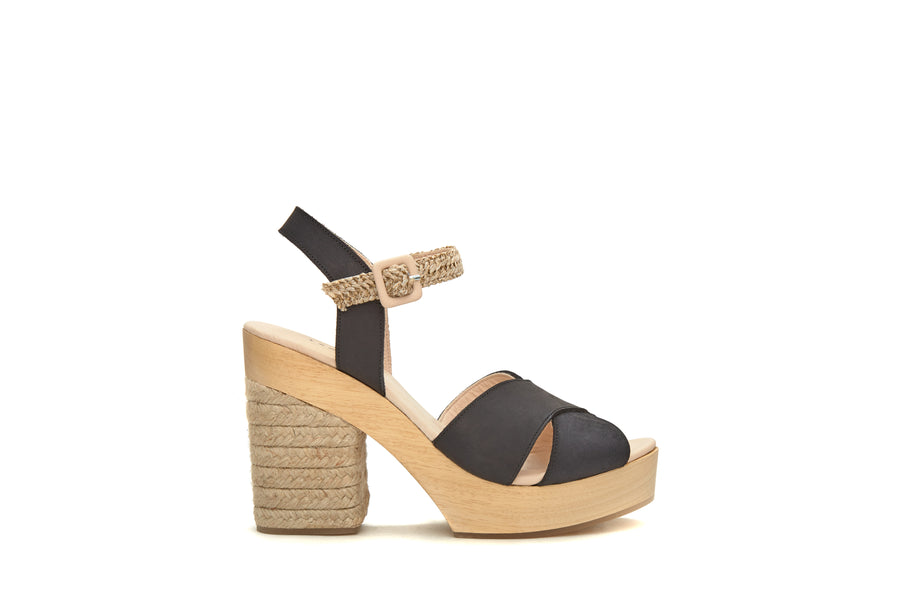 The Perfect Leather & Raffia Wedge Black