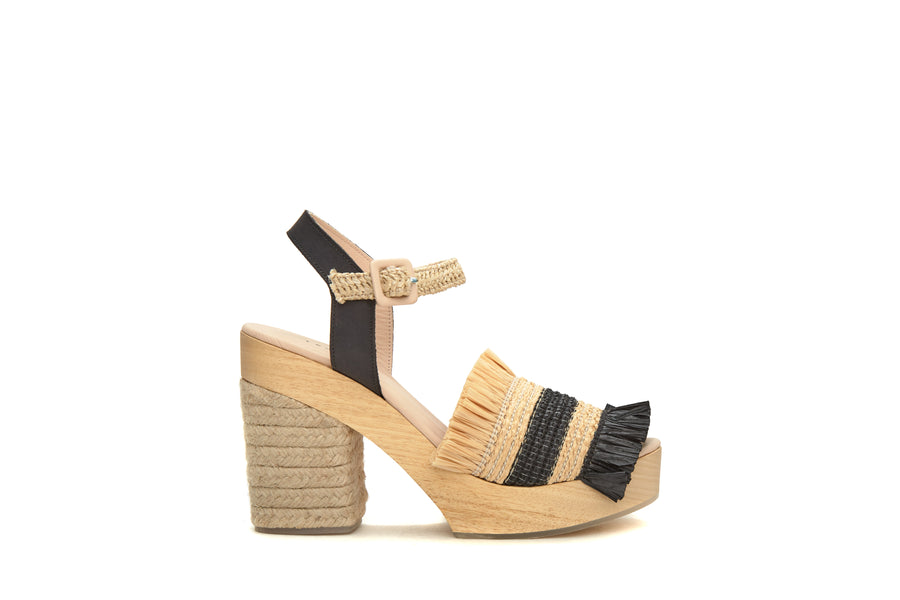 Wedge Shoes Palm Tropic  Blanc - Camel - Noir