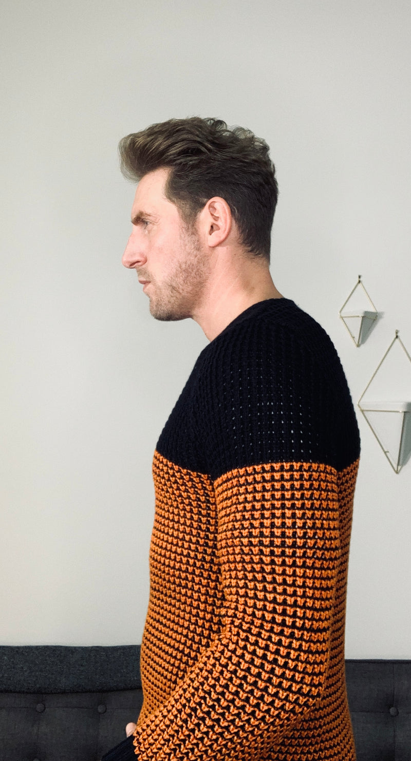 """Pique""Sweater in Orange and Navy Blue"