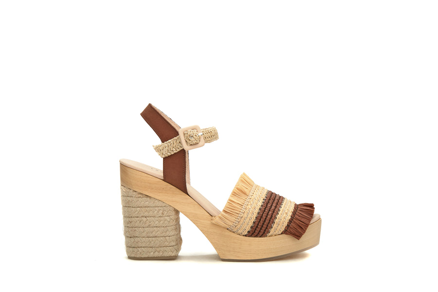 Wedge Shoes Palm Tropic Noir - Blanc - Camel