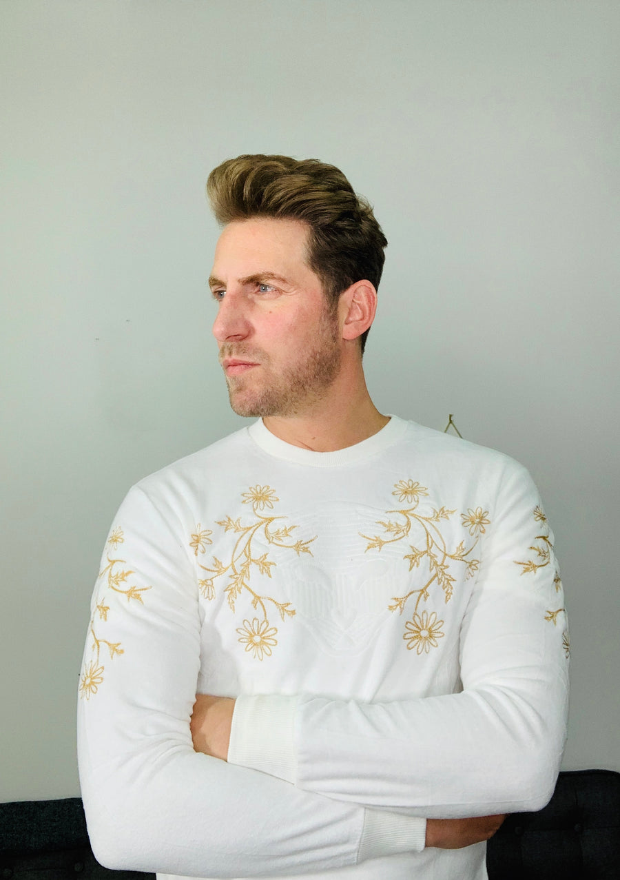 White Tiger Embroidery Sweatshirt