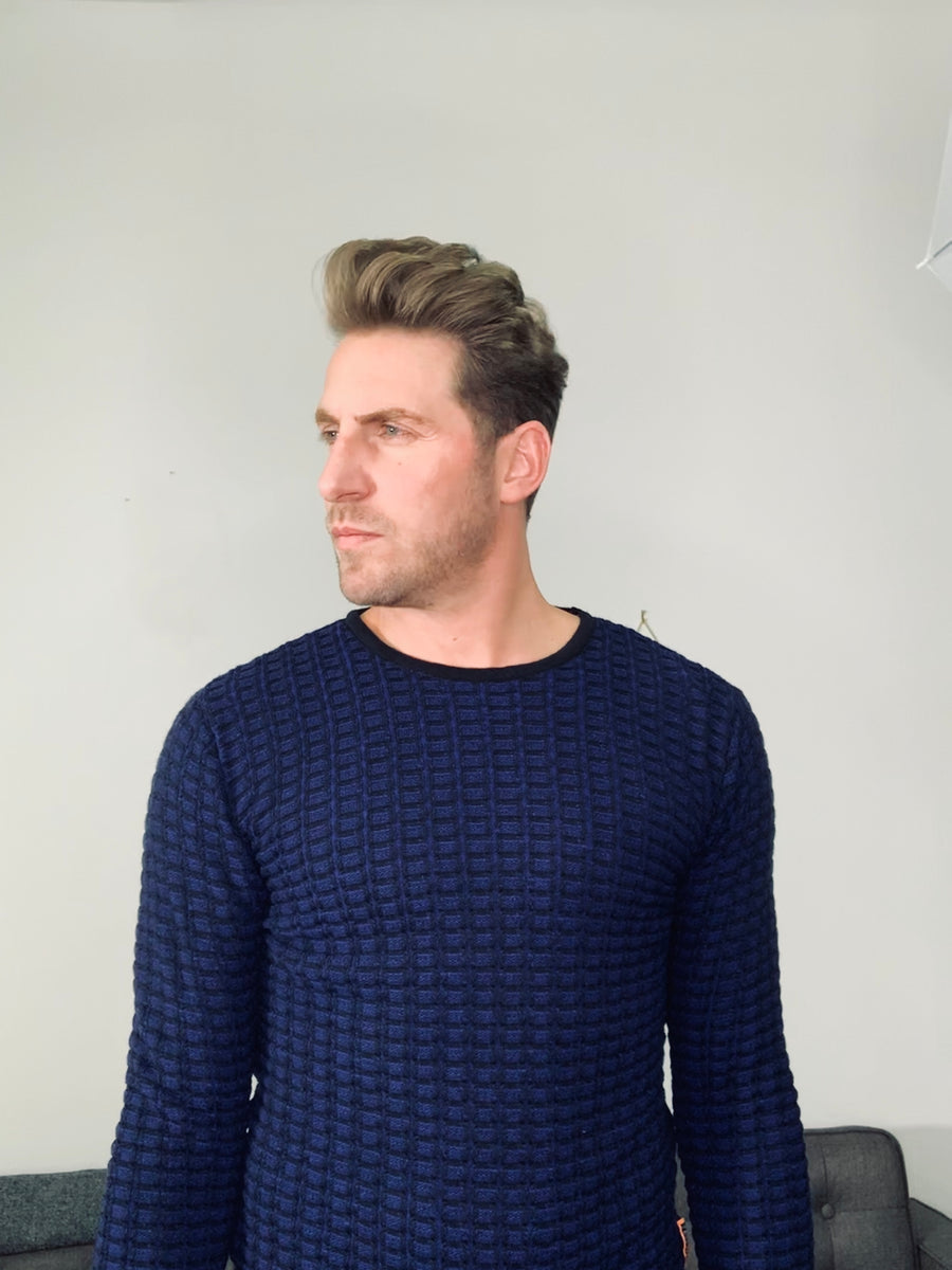 Electric Blue and Black Sweater