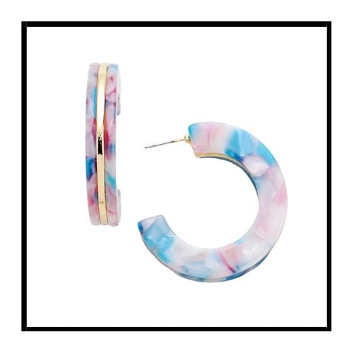 Acetate & Silver Hoop Earrings