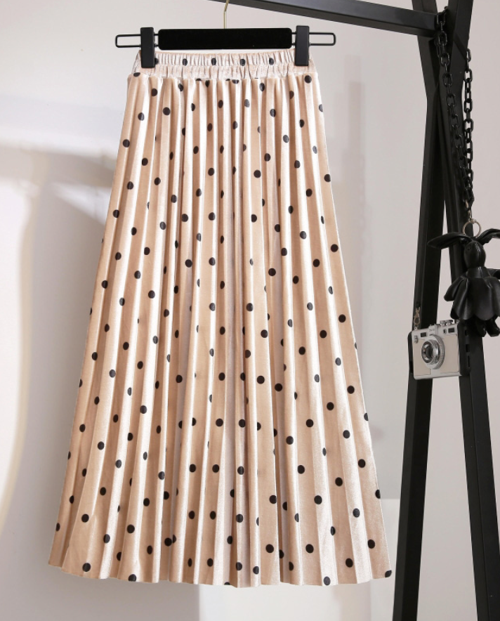 Polka Dots Pleated Skirt