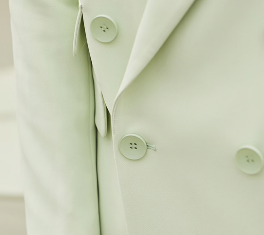 Mint Suit Jacket Lapel Double - Breasted
