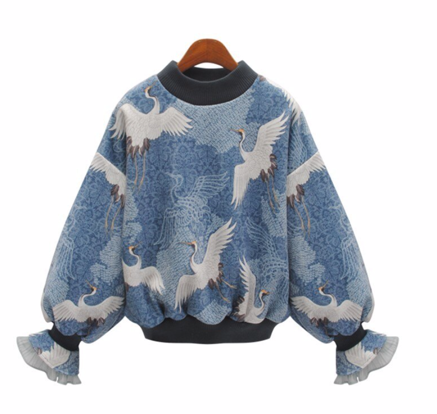 Light Blue Printed Birds Sweatshirt