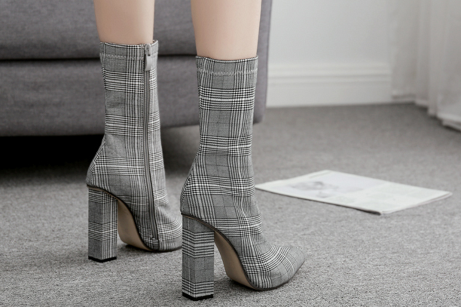 Plaid Tall Boots