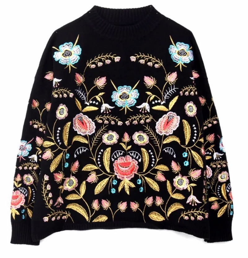 Black Floral Sweater With Neon Details
