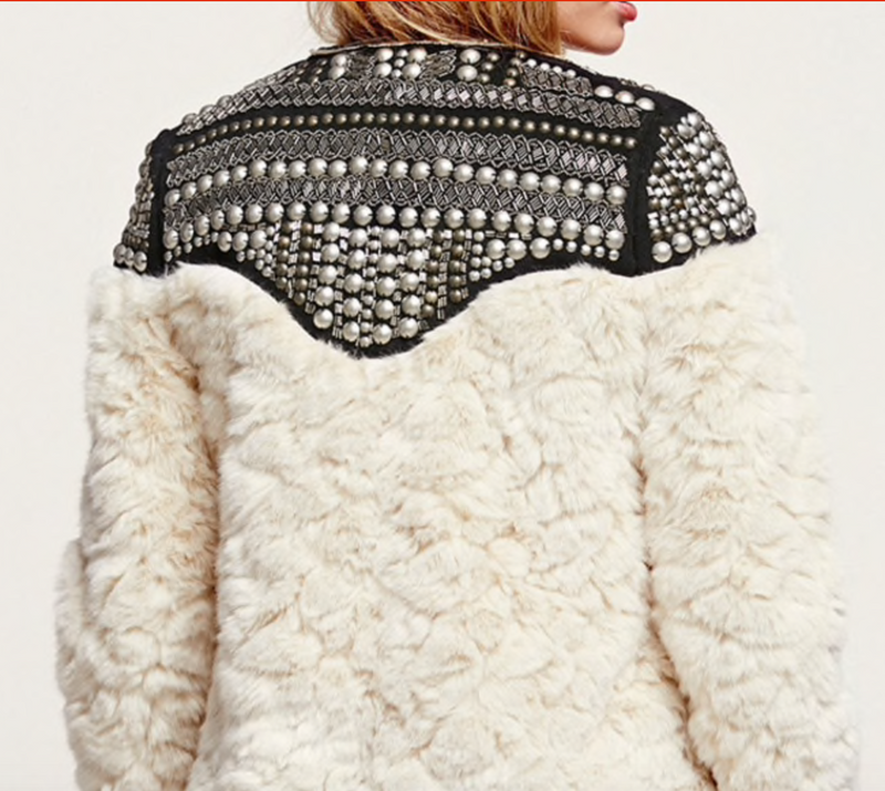 White Faux Fur With Metal Embroidery