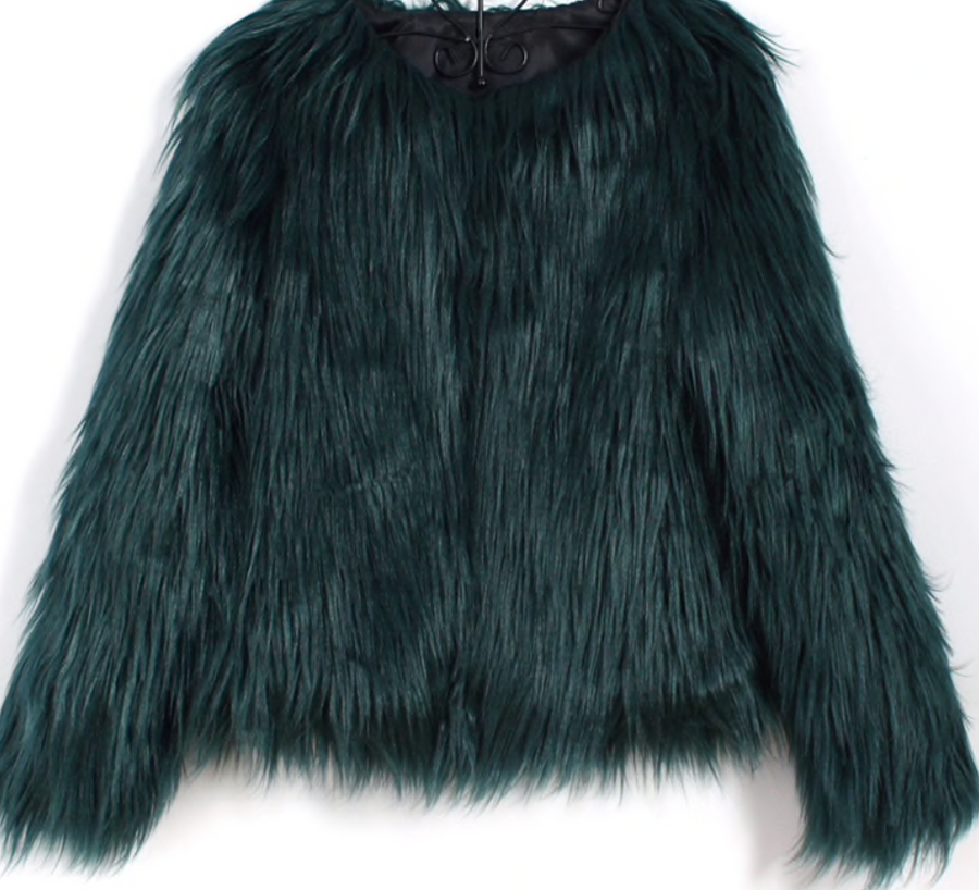 Spring - Fall Faux Fur Green Winter Jacket