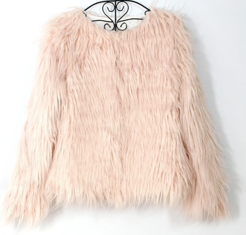 Peach Winter Faux Fur Jacket