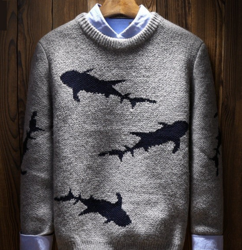 "Mens Shark Sweater ""Gray"""