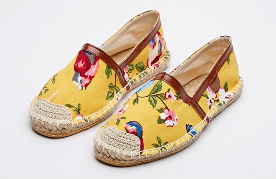 Yellow Espadrilles Flat Women Spring Birds
