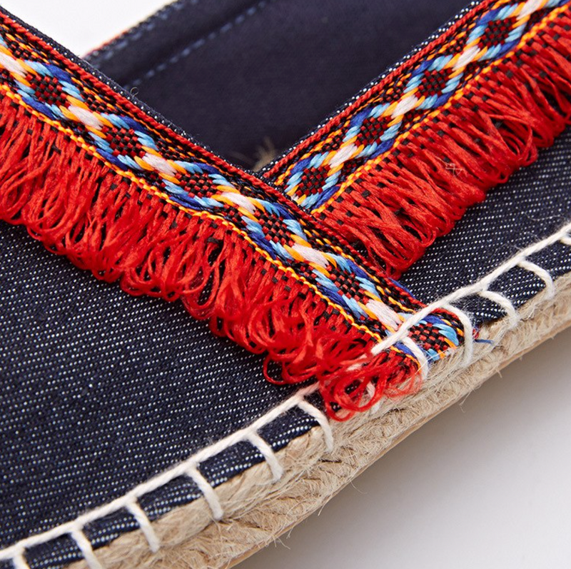 New! Denim Espadrilles Red Tassel Flat Women Spring