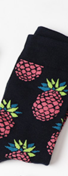 Cotton Men Crew Socks Ananas