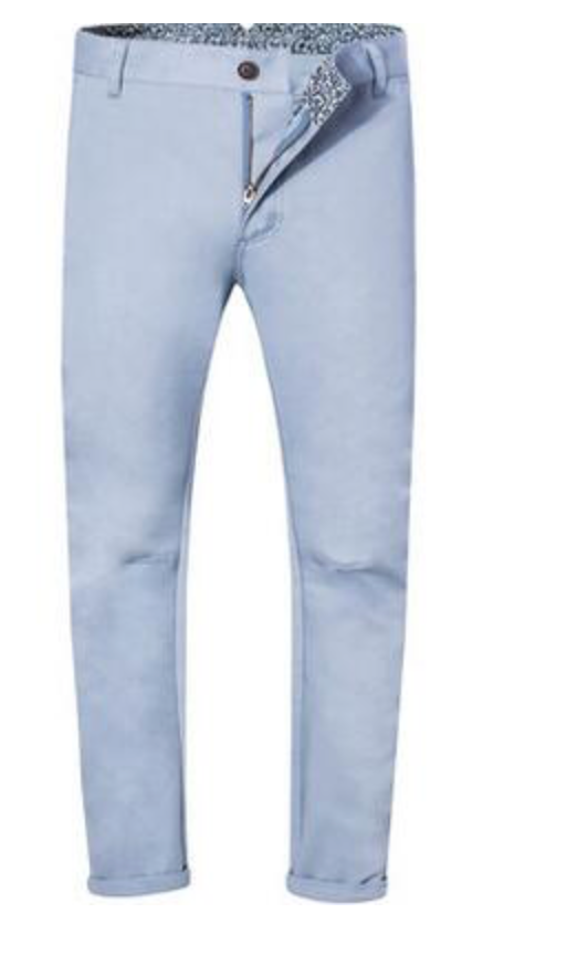 Light Blue Casual Pants 100% Cotton Chinos Men