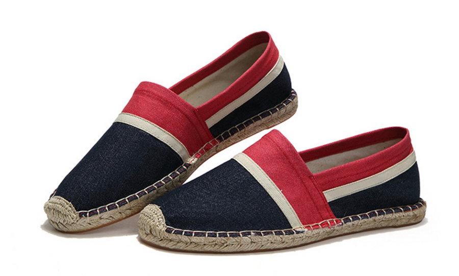 Red & Blue Striped Espadrille Canvas Casual Linen Shoes Men
