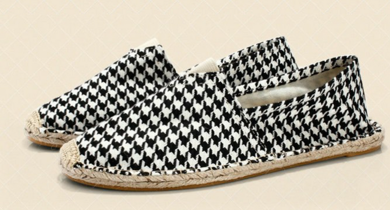 Houndstooth Espadrilles Loafers Fashion  Canvas Spring Summer Shoes
