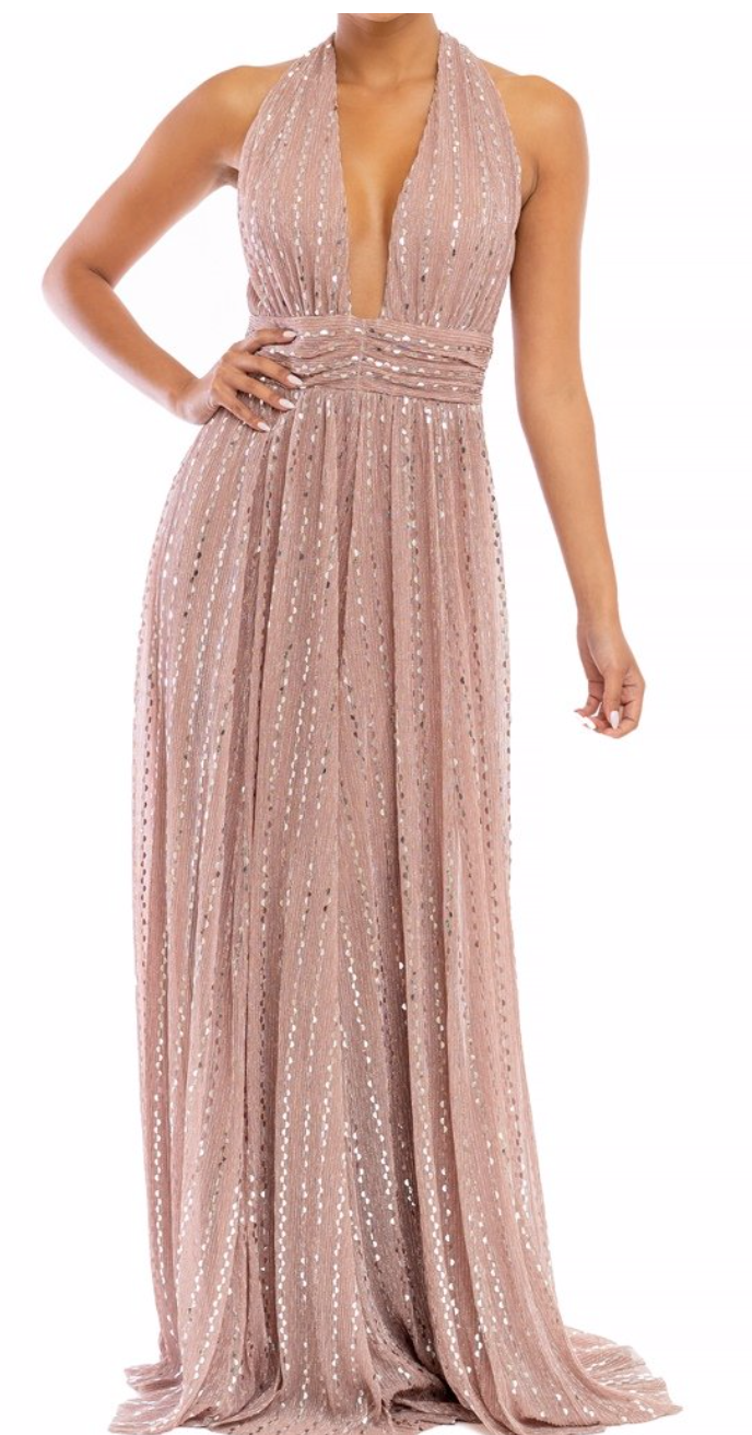 Blush Sparkle Halter Maxi Dress