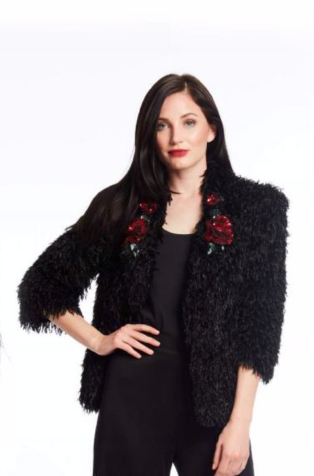 Black Faux Pile Jacket With Sequin Red Flower