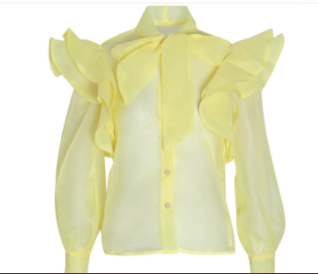 Light Yellow Long Sleeve Ruffle Blouse