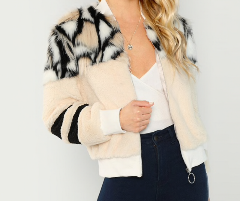 Faux Fur Short Bomber Coat