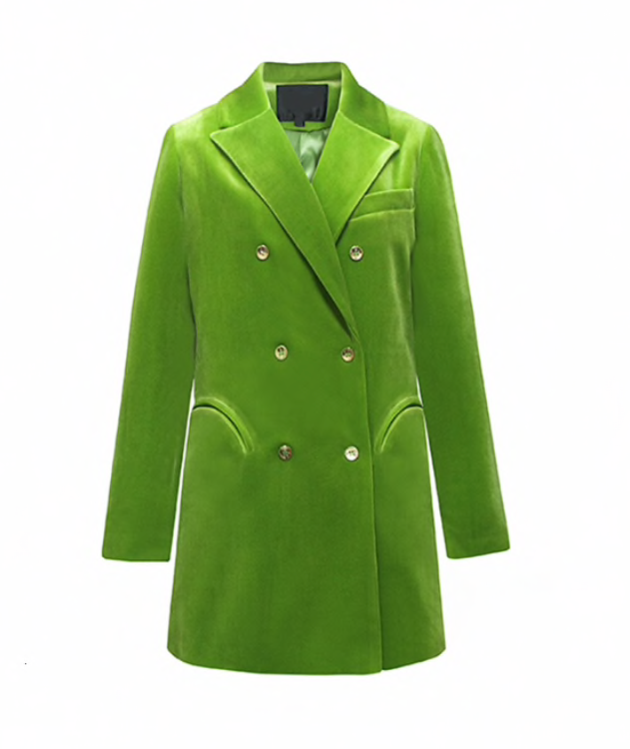 Green Velvet Jacket Blazer