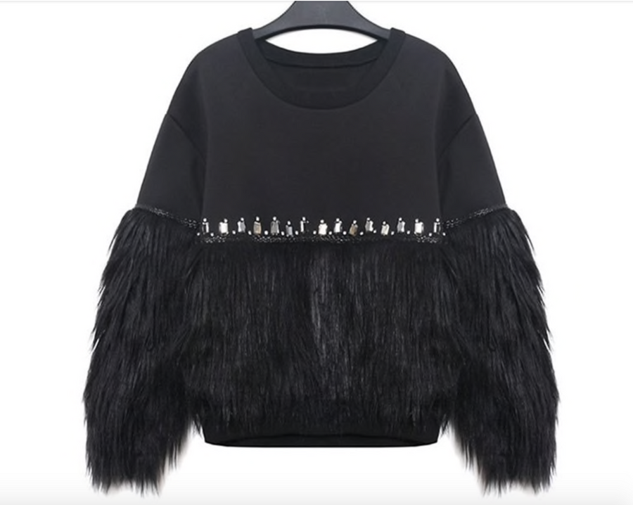 Black Faux Fur Sweater Sweatshirt with Rhinestones One Size