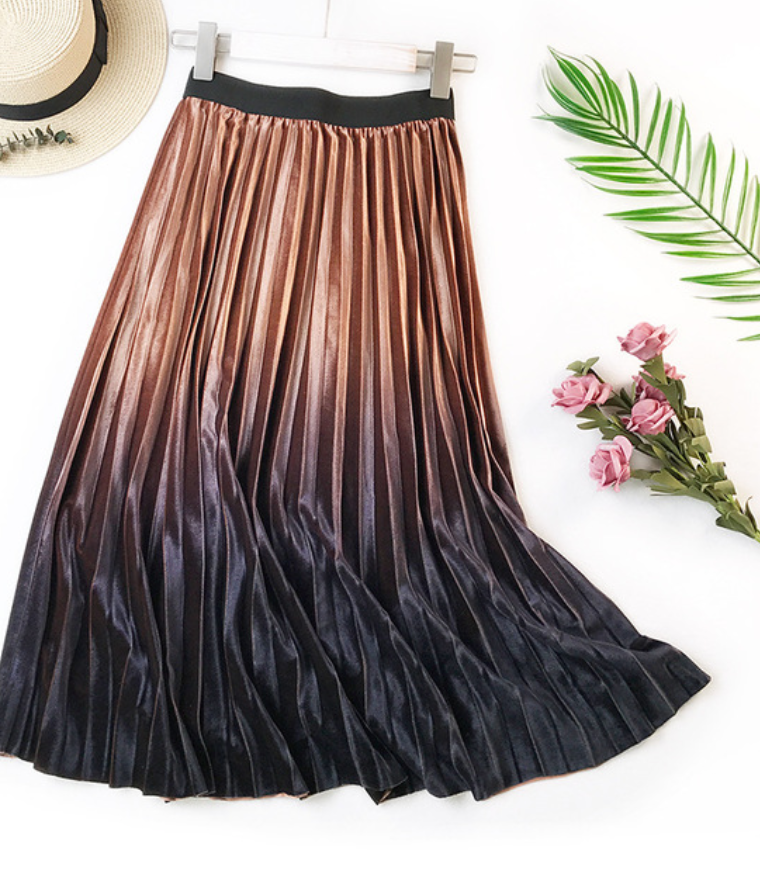 High Waist Pleated Velvet Skirt
