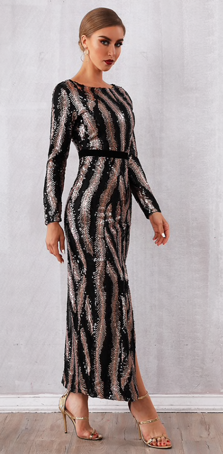 Black and Silver Sequins Party Dress