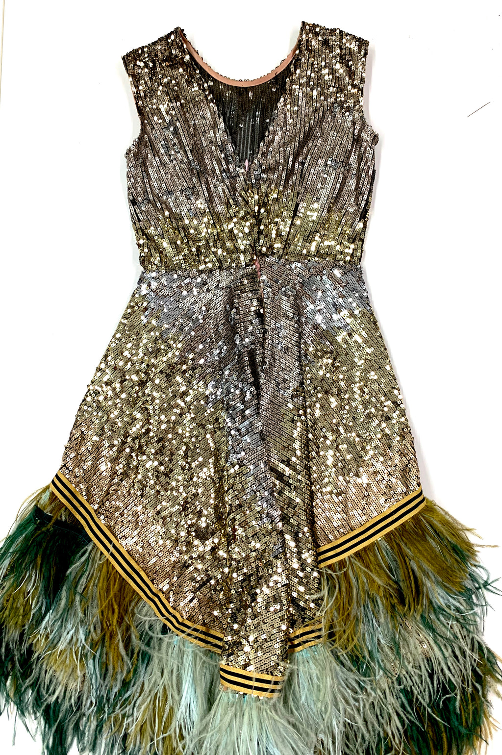 Handmade Green And Gold Sequin Feather  Dress