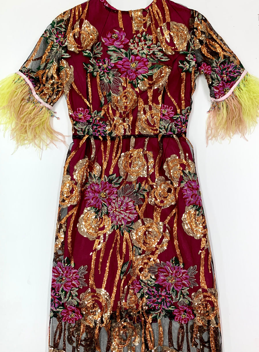Long Floral Sequin Dress With Neon Feathers