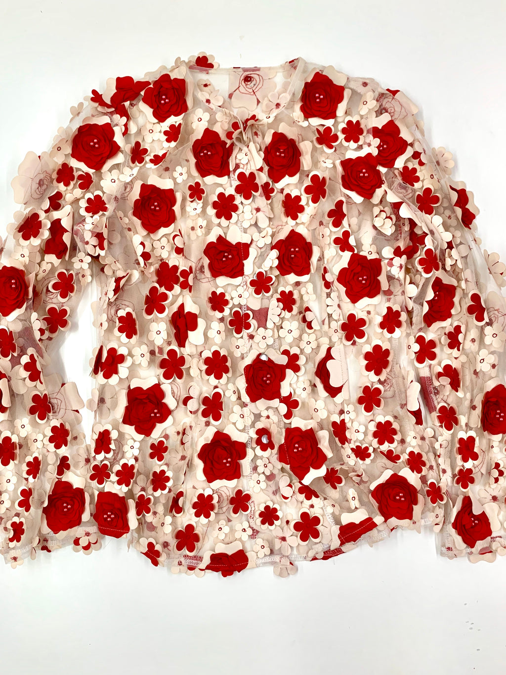 Red And Cream Floral Jacket Bolero