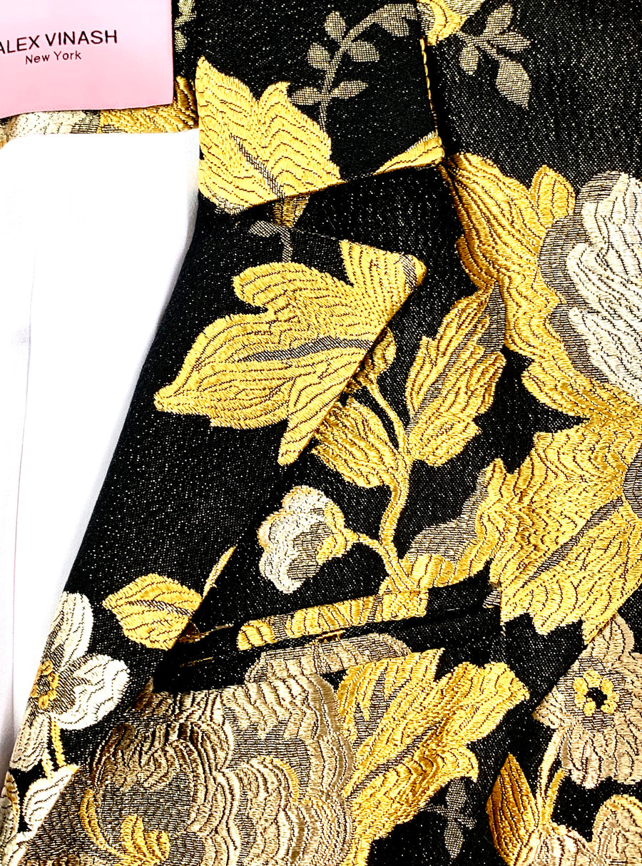 Silk Black & Gold Floral Jacket